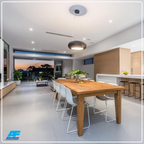 modern dining room with ducted air conditioning